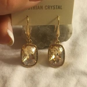 Elegant Peach Austrian Crystal Drop Earrings NEW